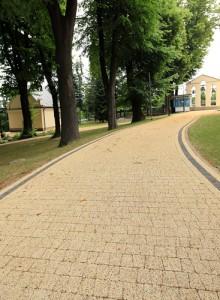 Avanti zolty grafitowy plukany Obrzeze trawnikowe szary gladki E